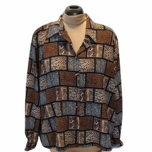 Yves St.Clair2 20w animal print button up blouse